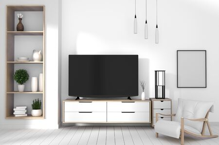 TV on cabinet in modern living room with lamp,plant on wall background,3d rendering