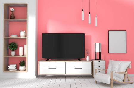 TV on cabinet in modern living room with lamp,plant on red wall background,3d rendering 版權商用圖片