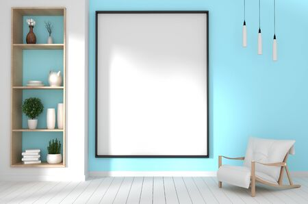 mock up poster frame in hipster green mint room interior japanese style.3D rendering Banque d'images - 131547943