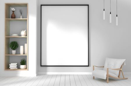 mock up poster frame in hipster interior japanese style.3D rendering