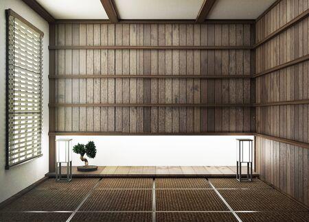 Diseño de interiores, sala de estar moderna con piso de tatami y pared de madera de estilo japonés. Representación 3D.