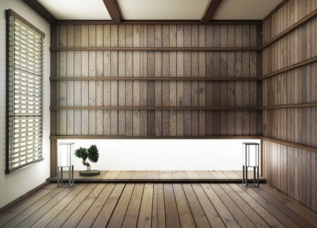interior design,modern living room with wood floor and wood wall japanese style.3D rendering