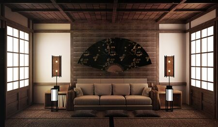 interior design,modern living room with sofa on tatami mat and traditional japanese.3D rendering 版權商用圖片