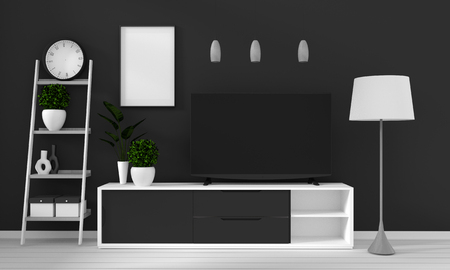 cabinet in modern living room with lamp,cabinet,frame and plant on black wall background,3d rendering Archivio Fotografico