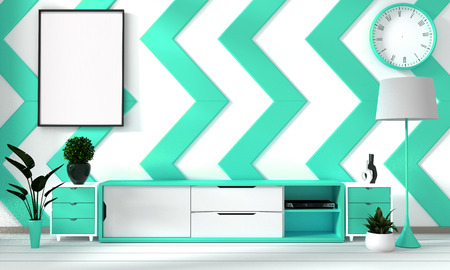 Green mint and white room poster with zen hipster minimalism japanese interior background, 3D rendering