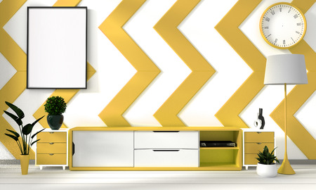 Yellow and white room poster with zen hipster minimalism japanese interior background, 3D rendering