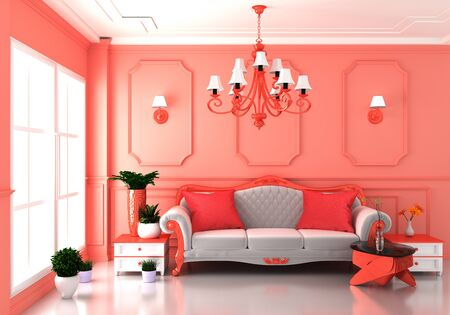 Living coral Luxury room interior and decoration luxury style.3D rendering Stock Photo