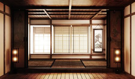Mock up Big room very Luxury zen style, Designed specifically in Japanese style, empty room. 3D rendering Stock Photo