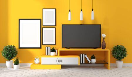 Mueble de TV en sala moderna amarilla, diseños minimalistas, estilo zen. Representación 3d