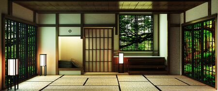 Japan style Big living area in luxury room or hotel japanese style decoration.3D rendering Stock Photo