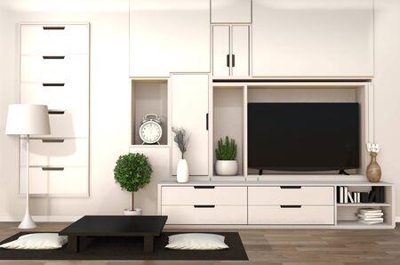 TV auf Schrank im japanischen modernen Wohnzimmer mit niedrigem Tisch, Lampe und Pflanze auf weißem Wandhintergrund, 3D-Rendering Standard-Bild