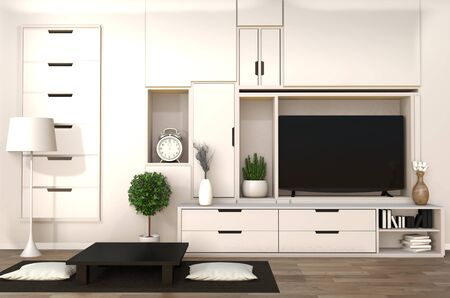 TV on cabinet in japanese modern living room with low table,lamp and plant on white wall background,3d rendering