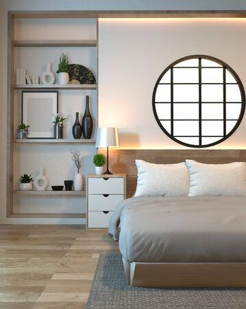 Modern zen peaceful Bedroom. japan style bedroom with shelf wall design hidden light and decoration japanese style.3D rendering 版權商用圖片