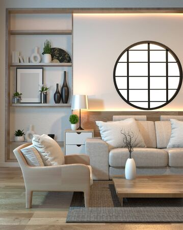 minimal interior design room zen style with sofa, arm chair, low table and decoration japan style design hidden light in shelf wall.3D rendering Banque d'images - 131547947