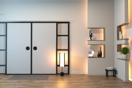 Empty zen room interior background with shelf wall japanese style design hidden light.3d rendering Banque d'images - 131657935