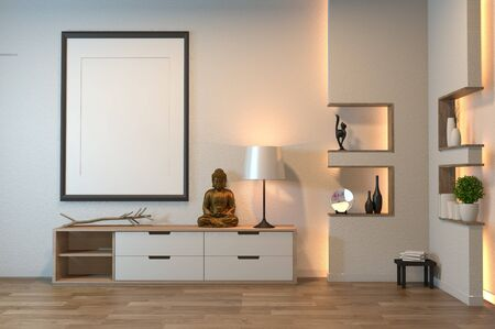 japan cabinet in empty room zen style,minimal design decoration on shelf wall design hidden light. 3D rendering Banque d'images - 131657938