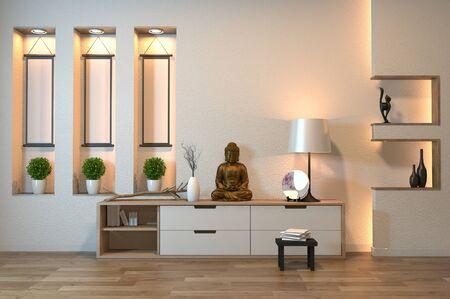japan cabinet in empty room zen style,minimal design decoration on shelf wall design hidden light. 3D rendering Banque d'images - 131657936