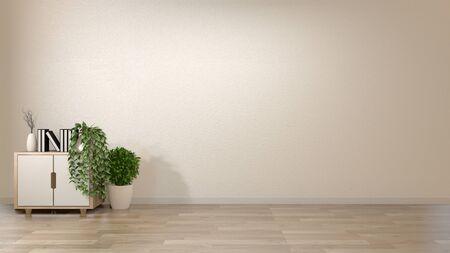 Stile zen interno vuoto della stanza del fondo con la decorazione sull'armadietto di legno sullo stile del Giappone di legno del pavimento. Rendering 3D