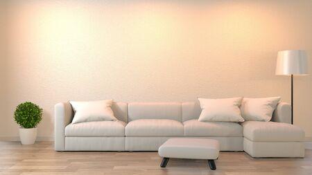 Soggiorno zen moderno con divano e mobili in stile giapponese. Rendering 3D