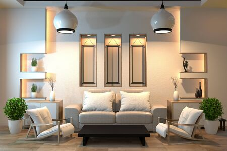 minimal interior design room zen style with sofa, arm chair, low table and decoration japan style design hidden light in shelf wall. 3D rendering