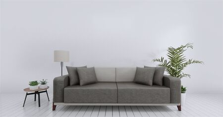 Living room interior wall mock up empty white background. 3D rendering. Imagens