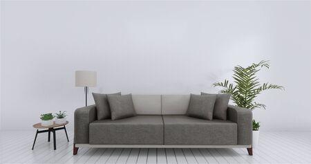 Wohnzimmerinnenwand verspottet leeren weißen Hintergrund. 3D-Rendering. Standard-Bild