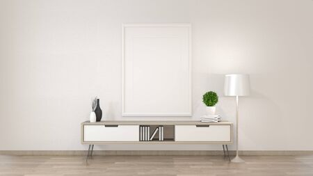 Mock up cabinet in zen living room on white wall background, 3d rendering