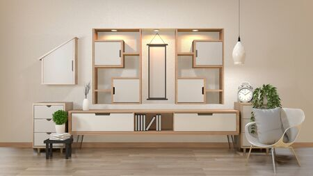 cabinet and decoration in modern zen empty room, minimal designs shelf wall, 3d rendering Stock Photo
