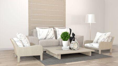 interior design zen living room with low table, pillow, frame, lamp on wood floor. 3D rendering 写真素材