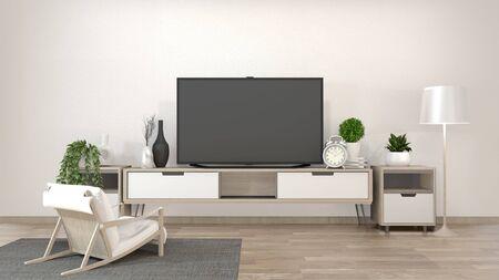 Maqueta de Smart Tv en sala de estar zen con decoración de estilo minimalista. Representación 3d