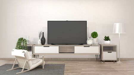 Smart Tv Mockup on zen living room with decoration minimal style. 3d rendering