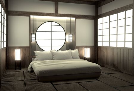 Bedroom modern zen interior design with decoration japanese style.3D..