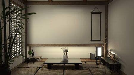 japan living room tatami mat and traditional japanese decoration, Japanese style. 3D rendering Standard-Bild