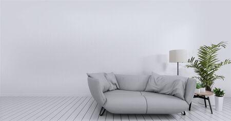 Livingroom interior wall mock up empty white background. 3D rendering.