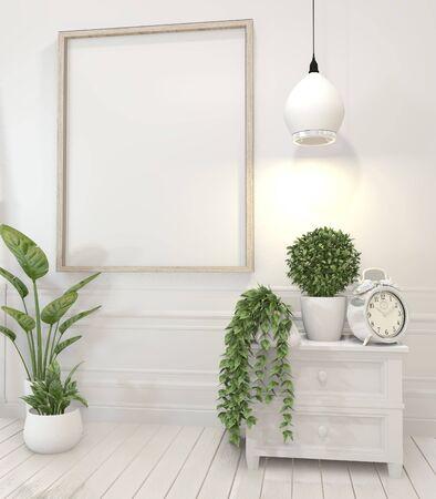 makiety plakatów i roślin dekoracyjnych na szafce w białym salonie interior.3D renderowania
