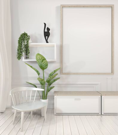 Mock up poster frame and cabinet and decoration plants on white room minimal design.3D rendering Banco de Imagens - 127105136
