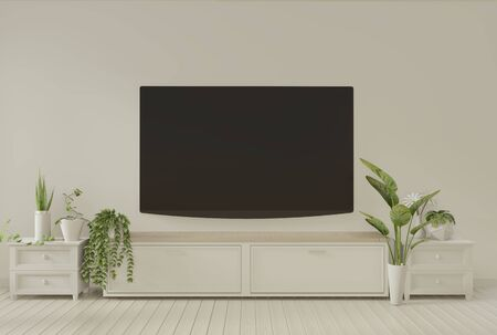 Mock up Tv cabinet in empty room white wall, 3d rendering