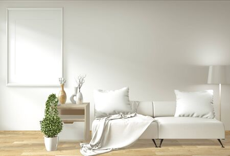 Modern zen living room interior with sofa and green plants japanese minimal design. 3d rendering.