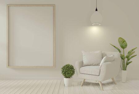 Interior mock up poster frame and armchair in living room mock up design. 3D rendering.