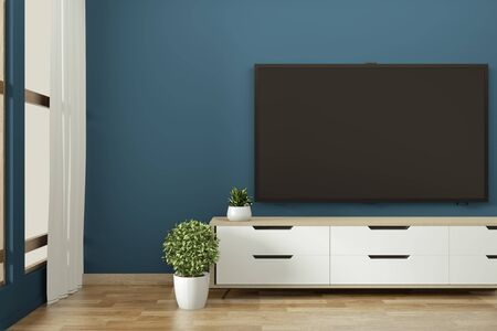 Tv cabinet in zen modern empty room janapese minimal designs, 3d rendering