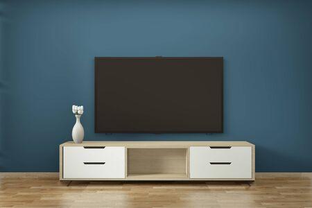 Mobile tv in zen moderna stanza vuota disegni minimi giapponesi, rendering 3d Archivio Fotografico