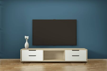 Tv cabinet in zen modern empty room janapese minimal designs, 3d rendering Stockfoto