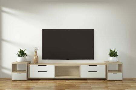 Mock up mobile Tv in zen moderna stanza vuota disegni minimi giapponesi, rendering 3d