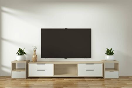 Mock up Tv cabinet in zen modern empty room japanese minimal designs, 3d rendering