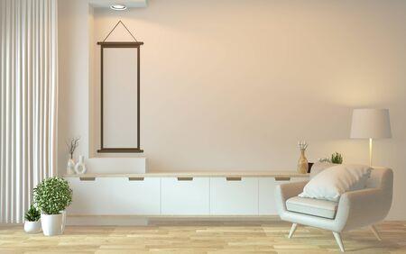Fernsehschrank im modernen leeren Raum Japanisch - Zen-Stil, minimalistisches Design. 3D-Rendering Standard-Bild