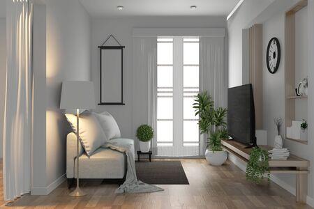 TV-Regal im modernen leeren Raum und Dekorationspflanzen auf weißem Wandboden aus Holz. 3D-Rendering