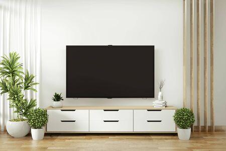 Estante de TV en la moderna habitación vacía y plantas de decoración en el piso de la pared blanca de madera. Representación 3D