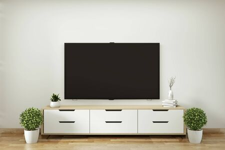 Tv shelf in modern empty room and decoration plants on white wall floor wooden. 3D rendering