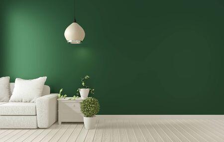 Mock up poster frame on dark green living room interior. 3D rendering