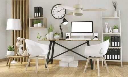 Makieta komputera z pustym ekranem i dekoracją w pokoju biurowym makieta tła. Renderowanie 3D